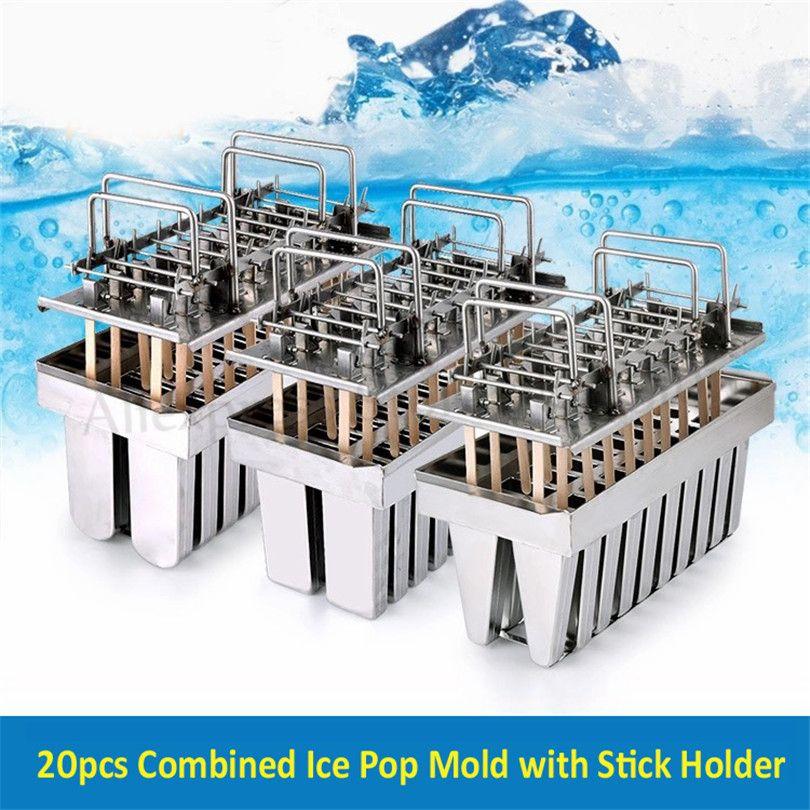 Ücretsiz Kargo 20 Hücreleri / Toplu Paslanmaz Çelik Buz Pops Kalıp Dondurma Popsicle Tutucu Ticari DIY Mutfak Aletleri Yepyeni