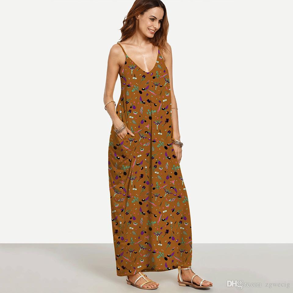 Großhandel Elegante Lange Maxi Kleid Sommer 20 Frauen Boho Tiefem V  Ausschnitt Ärmellose Lose Kleider Strand Tragen Sommerkleid Vestido Von  Zgwecig,