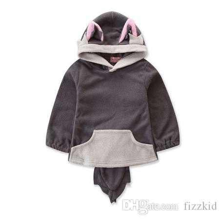 Мода мультфильм Детская одежда симпатичные Фокс девочка толстовки теплый малыш девушка зимняя одежда повседневная хлопок Детская одежда