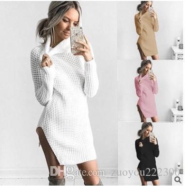 2018 novas explosões, outono e inverno Sexy Split Fork Turtleneck Camisola Vestido Casacos, Roupas Femininas Fabricantes Diretos Venda Direta