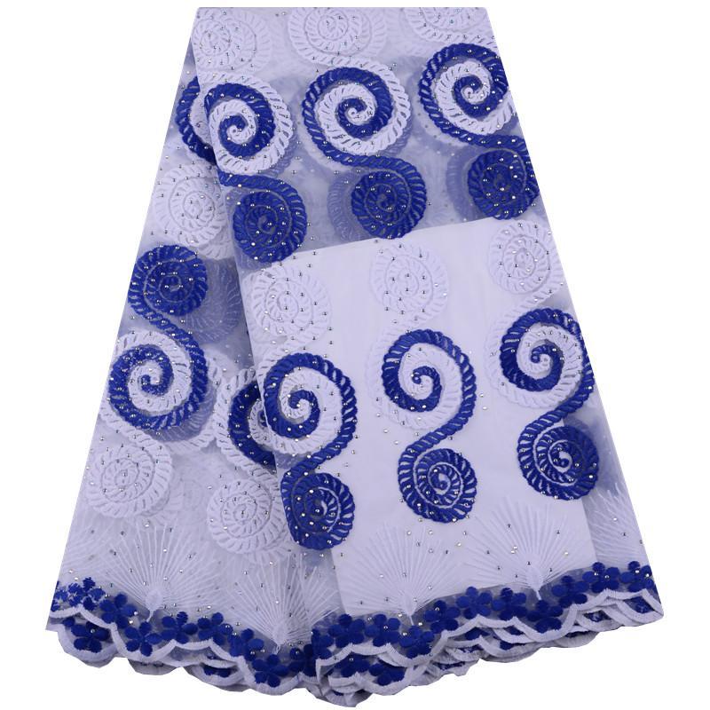 Royal Blue Africano Tessuto di Pizzo 2019 Africano di Alta Qualità Tessuto di Pizzo di Tulle con Pizzo Rete Pizzo Francese Per Le Donne Vestito Y1431