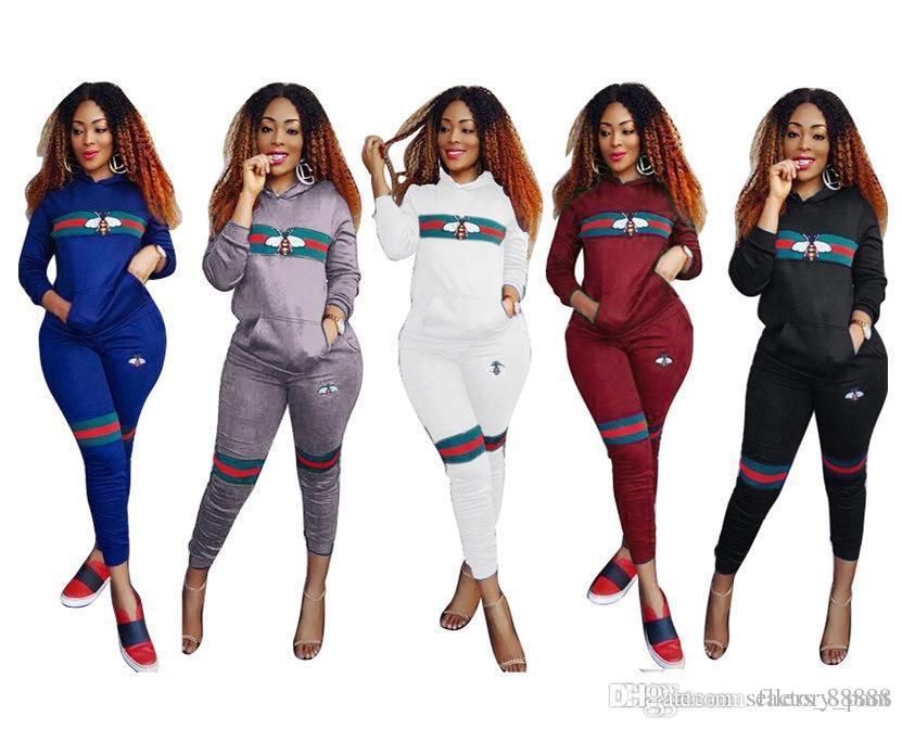 2018 com capuz de duas peças set fatos de treino das mulheres primavera outono listrado ocasional top de impressão e calça set senhoras 2-piece terno outfits