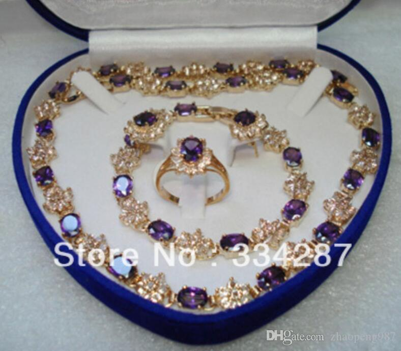 красный/синий/фиолетовый Циркон серьги браслет кольцо/necklae набор