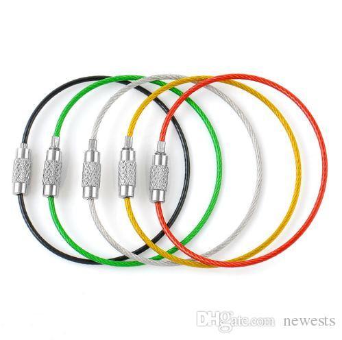 5 قطعة الفولاذ المقاوم للصدأ سلك كابل الحبل مفتاح حامل كيرينغ 5 ألوان مفتاح سلسلة حلقات النساء الرجال المجوهرات