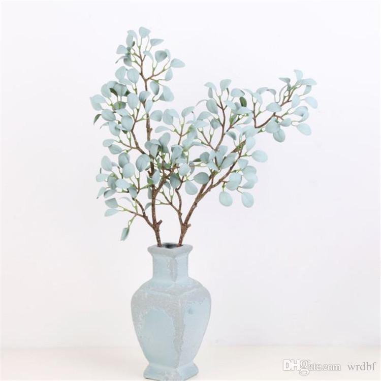 가짜 긴 줄기 밀라노 잎 시뮬레이션 녹색 식물 결혼식을위한 녹색 식물 쇼케이스 장식 인공 식물
