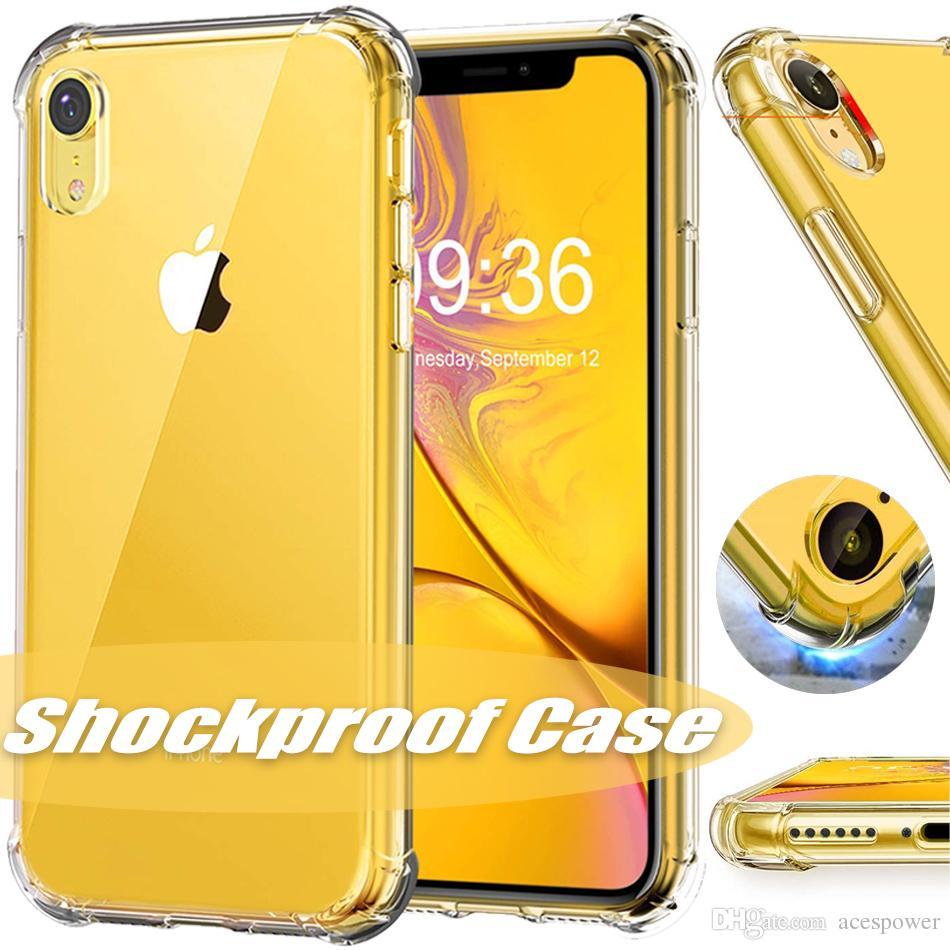 Para Nueva Iphone 11 Pro XR XS MAX X Caso transparente a prueba de golpes TPU para Samsung S9 S8 Plus Nota 8