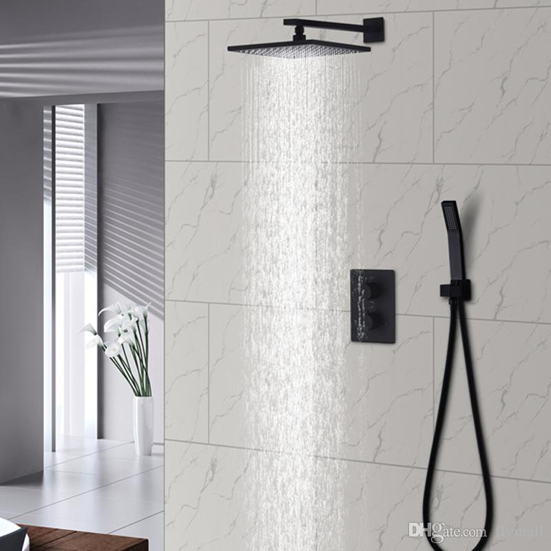 """Black Rain Shower Set Bathroom Thermostatic Mixer Wall Mount 10"""" Air Booster Rainfall Brass Shower System Head Save Water"""