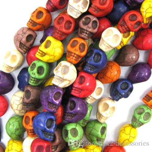 40 قطعة / الوحدة 1 سلسلة 10 ملليمتر مختلط الألوان الحجر الطبيعي الفيروز الخرز الجمجمة فضفاض الخرز لصنع مجوهرات diy