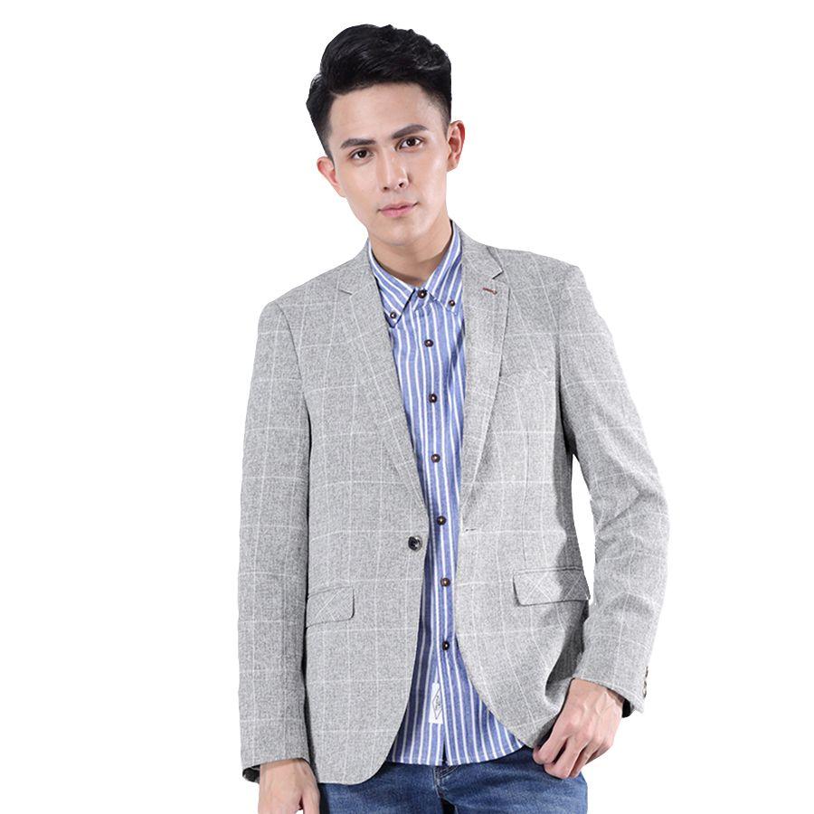 5972d829b4be2 Casual Blazer Men Fashion Slim Fit Jacket Masculin Party Grey Mens Plaid  Blazer Korean Male Erkek Mont Mens Suit Jackets 7X003