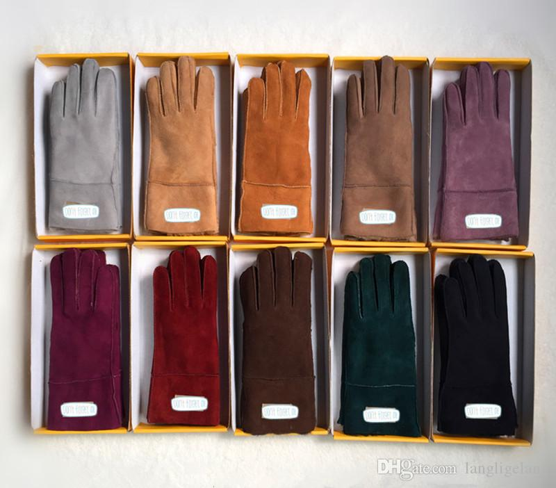 2018 جديد إمرأة جلد الغنم قفازات جلدية العلامة التجارية مصمم الفراء خمسة أصابع قفازات قفازات الصلبة اللون الشتاء في الهواء الطلق صامد للريح بواسطة البريدية