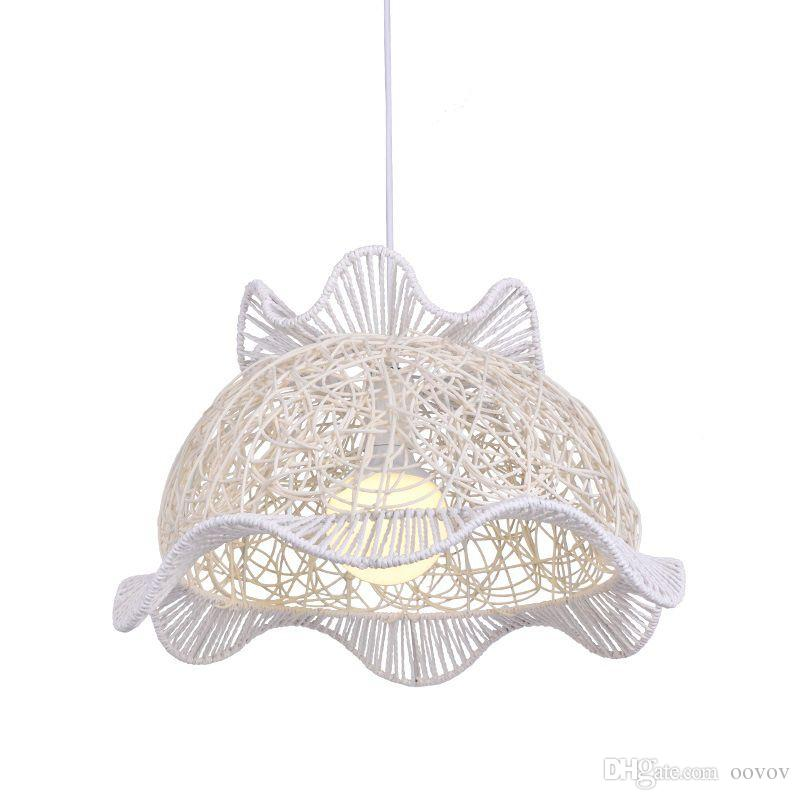 OOVOV Pastoral Straw Hat Dining Room Hanging Lamp Creative Kitchen Study Room Balcony Pendant Lights Fixtures