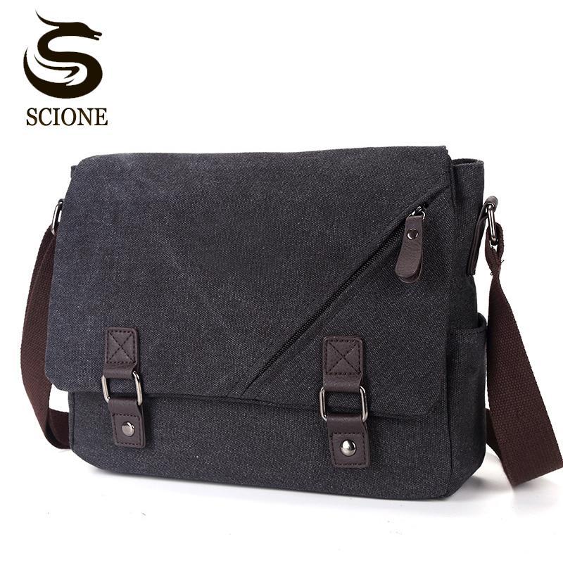 2018 Men Messenger Bags Canvas Leather Men's Handbags Travel Duffel Shoulder Bags Vintage Male Briefcase for School Teenagers