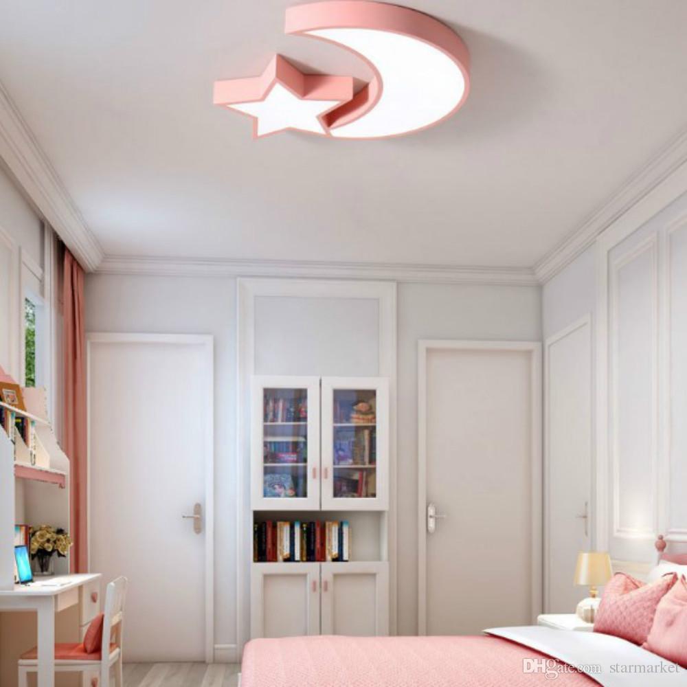 Großhandel Einfache Moderne Metall Acryl Lampenschirm Star Moon Led  Deckenleuchte Lampe Kinder Kinderzimmer Schlafzimmer Lampe 5 Farben  Vorhanden 36 ...