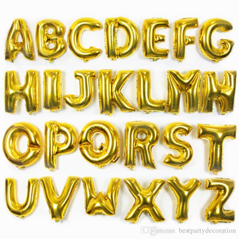 16 pouces or lettre numéro en aluminium papier ballons ballons à l'hélium décoration d'anniversaire fournitures de fête ballon à air de mariage en stock