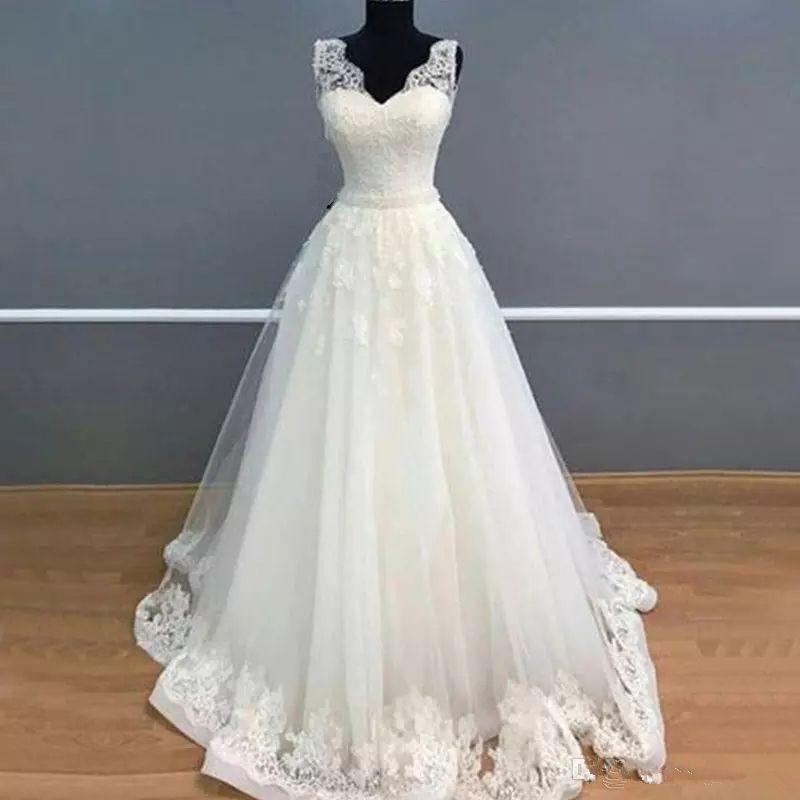 Venta caliente 2018 vestidos de boda simples baratos cariño una línea de tul apliques de encaje vestido de fiesta de boda vestidos de novia QC1082