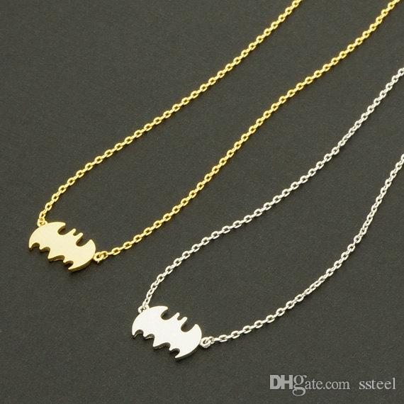 30pcs Gold Silver Vampire Bat Necklace Simple Superman Batman Necklaces Super Hero Halloween Necklace Silhouette Necklaces jewelry