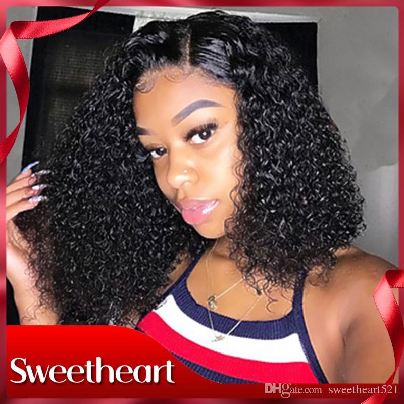Mode 14-26Inch schwarze Perücke Afro verworren Curly hitzebeständige synthetische Perücke Spitze vor Natürlicher Haarstrich 180% Dichte Afro-Perücken für schwarze Frauen