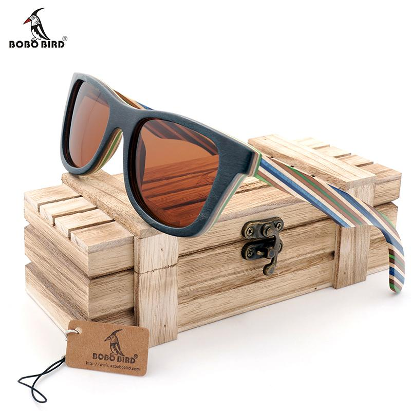 BOBO BIRD AG011b marca design originale di legno Occhiali MASCULINO colorato di legno della struttura uomini polarizzati degli occhiali da sole 2017