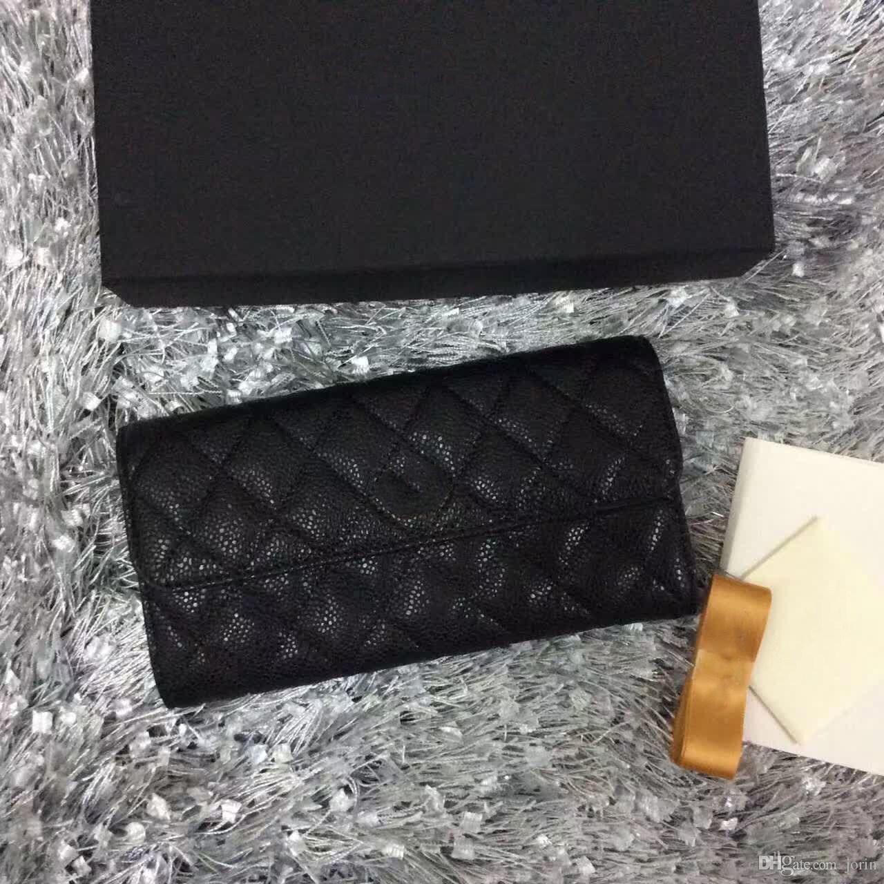 2017 venta caliente negro clásico original de cuero acolchado monedero de las señoras de cuero genuino monedero largo de la moda embrague pequeño monedero con caja
