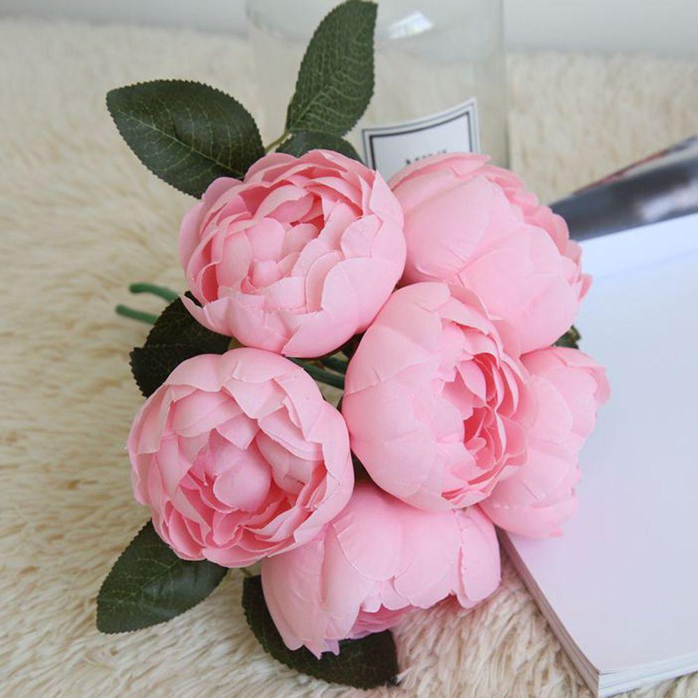 LIN MAN 2018 Hermosa Damasco Rose Peony Flores de Seda Artificial Pequeño ramo de flores casa fiesta decoración de la boda mariage Flor falsa