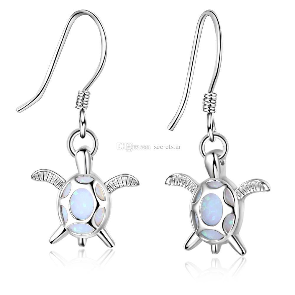 EA102105 calidad popular superior del gancho del oído plata de ley 925 Pendientes de tortuga de pescado con Simluated ópalo azul para las niñas