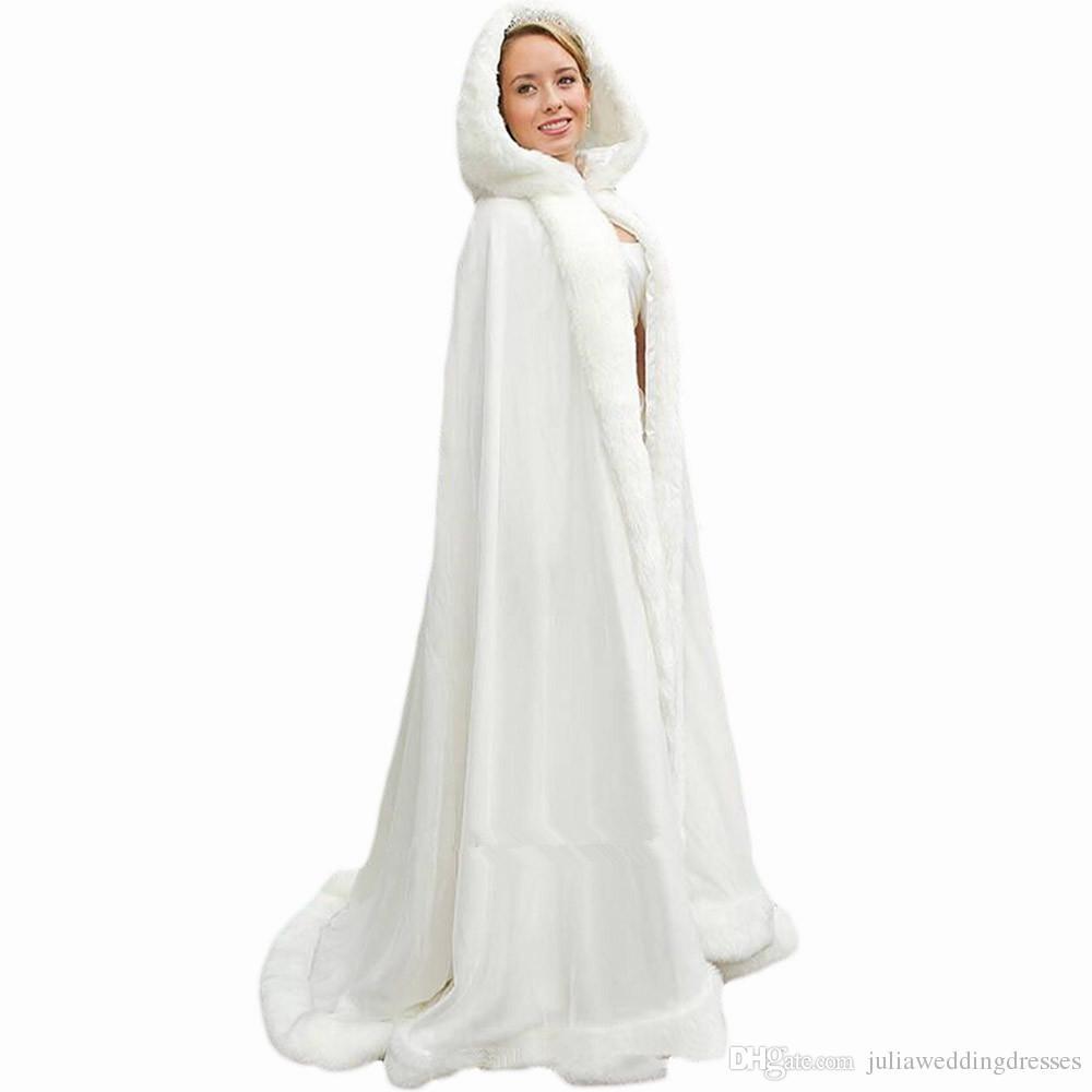 2018 White Femmes Mariage Cape Mariée Jacket Cloaks Envelopper Châle Longue Party Wraps Jacket Capes Longues Accessoires de mariage Vestes de mariage QC1104