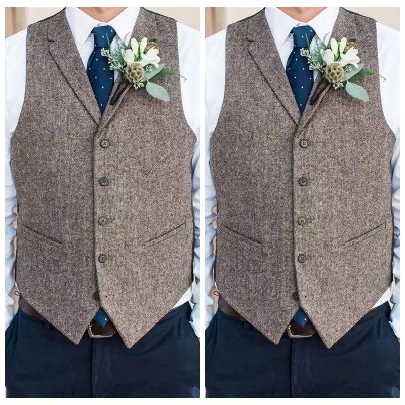 Ülke Çiftliği Düğün Gri Yün Yelekler Özel Online 2021 Damat Yelek Slim Fit Erkek Elbise Suit Yelek Balo Düğün Yelek Bağlı Geri Damat Yelek