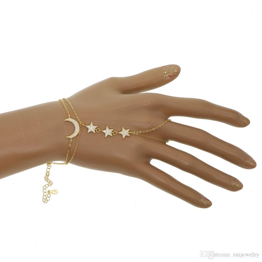 100% 925 Sterling Silver Złoto Wypełnione Micro Pave CZ Księżyc Gwiazda Urok Christmas Prezent Podwójny Łańcuch Biżuteria Biżuteria Bransoletka
