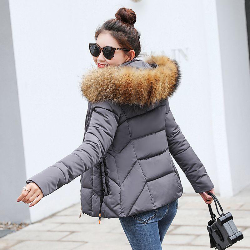 الشتاء سترة المرأة ستر ل معطف الأزياء النسائية أسفل سترة مع هود كبير فو الفراء طوق معطف 2018 hiver S18101204