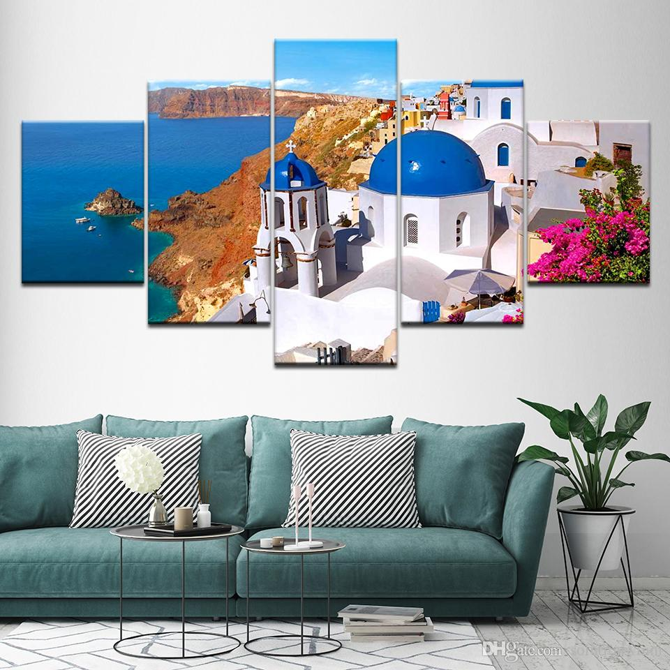 Greece By The Sea Painting Unframed Wall Art Print Poster Home Decor