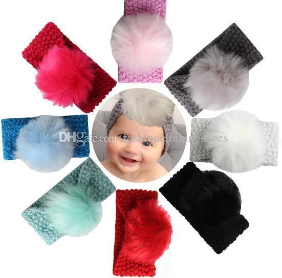 طفل الفتيات الأزياء الصوف الكروشيه العصابة حك هيرباند مع الشعر الكرة ديكور الشتاء الوليد الرضع الأذن أدفأ رئيس حك