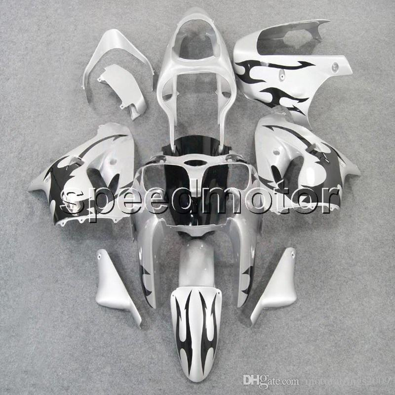 23colors+Gifts black flames+silver bodywork motorcycle Fairing for Kawasaki ZX9R 1998-1999 ZX-9R 98 99 ABS plastic kit