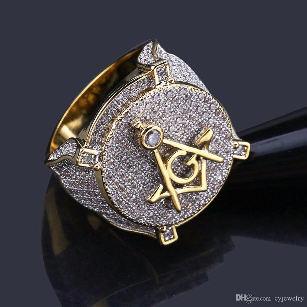 CZ Zircon Ice Out Bling Big Wide Masonic Ring Gold Filled Copper Material Freemasonry Rings Men Hip Hop Rapper ring Size 6-10#