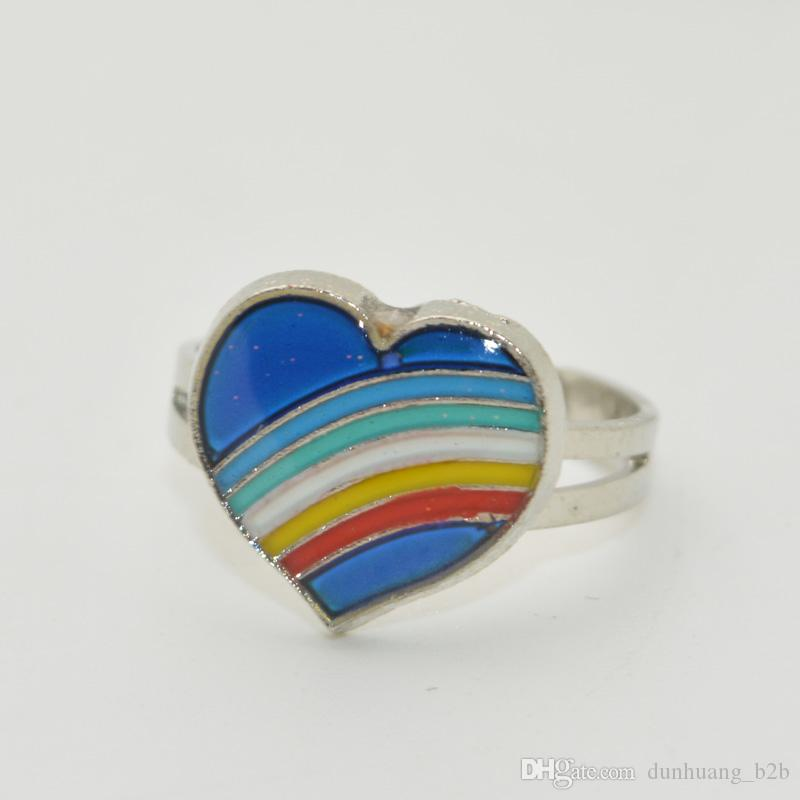 Free Shipping Mood Ring Wholesale 100pcs lot Change Color Smart Rng Creative Gift Smart Ring Two Hearts Ring