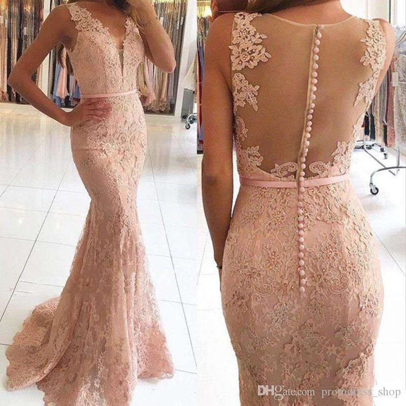 Long Mermaid Prom Dresses V Neck with Beaded Lace Evening Gowns Sexy Illusion Back Sheath Illusion Bodice Dresses