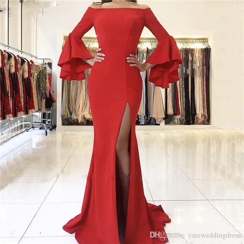 Red Bateau Abendkleider 2019 Lange Poet Ärmel Meerjungfrau Abendkleider Side Split Maßgeschneiderte Zurück Reißverschluss Maß Party Kleider