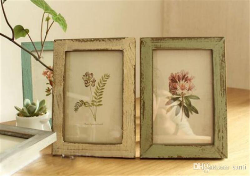 Caliente el hogar Arte Craft 5 colores marco de calidad de fotos de época Decoración retro Recomendación boda Pareja de madera de los marcos La ornamento regalo