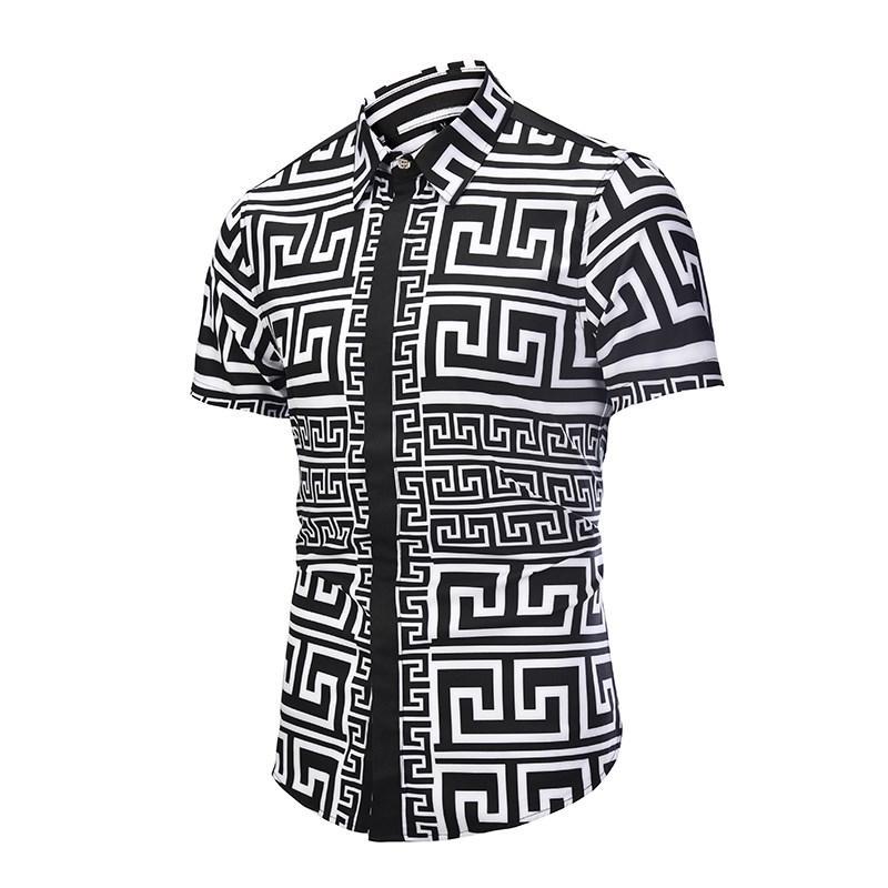Camicia elegante da uomo stampata Camicia con motivo a spruzzo Stampata Camicia 3D Camicia slim fit da uomo a maniche corte chemise homme Taglie forti D6056