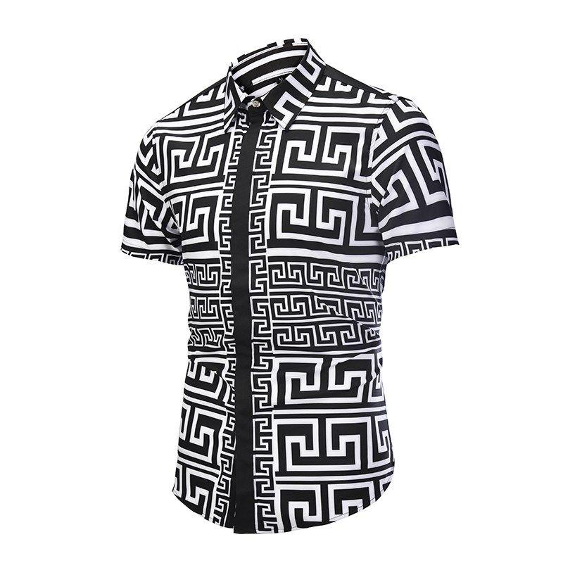 Impresso Homens Vestido Camisa Espirrado Pintura Padrão Impresso 3D Camisa Slim Fit Masculino Camisas de Manga Curta chemise homme Plus Size D6056