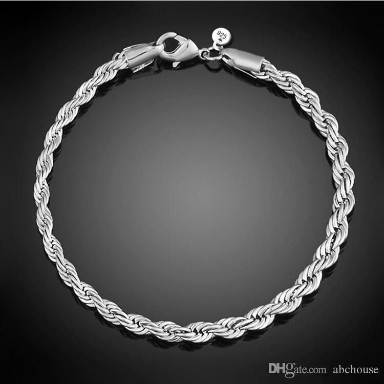 4 mm 925 Sterling Silber Mode Twist Seil Kette Armband für Frauen Männer Partei Armband Europäischen Charms Armbänder Fit Murano Gläser Perlen