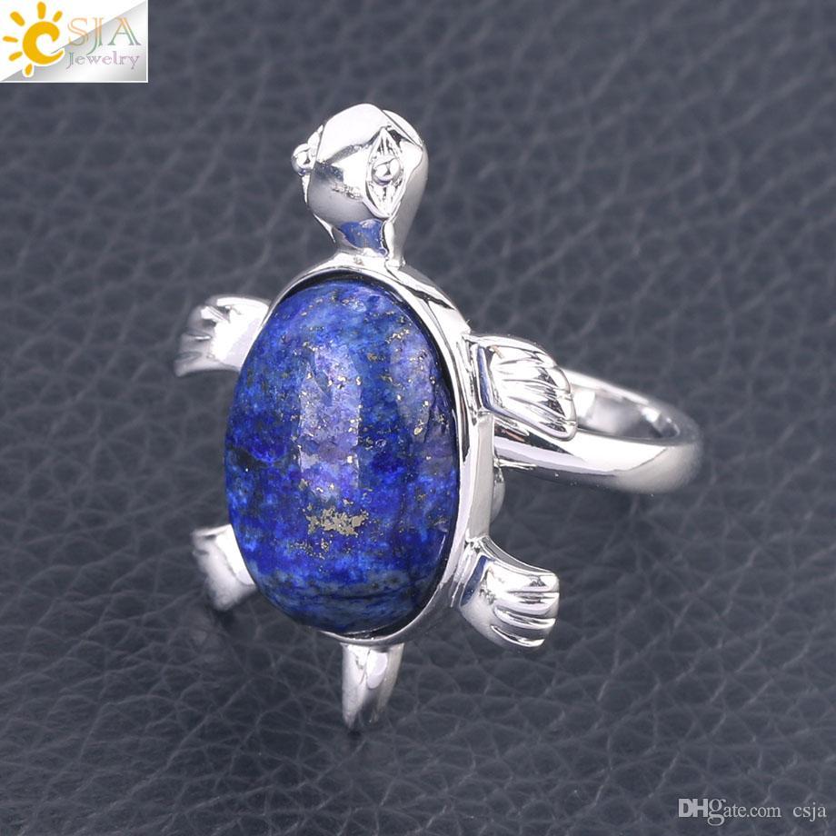CSJA Women Fashion Knuckle Rings Chakra Natural Gems Crystal Turtle Tortoise Sea Animal Lapis Lazuli Obsidian Opal Jewelry for Girls F589