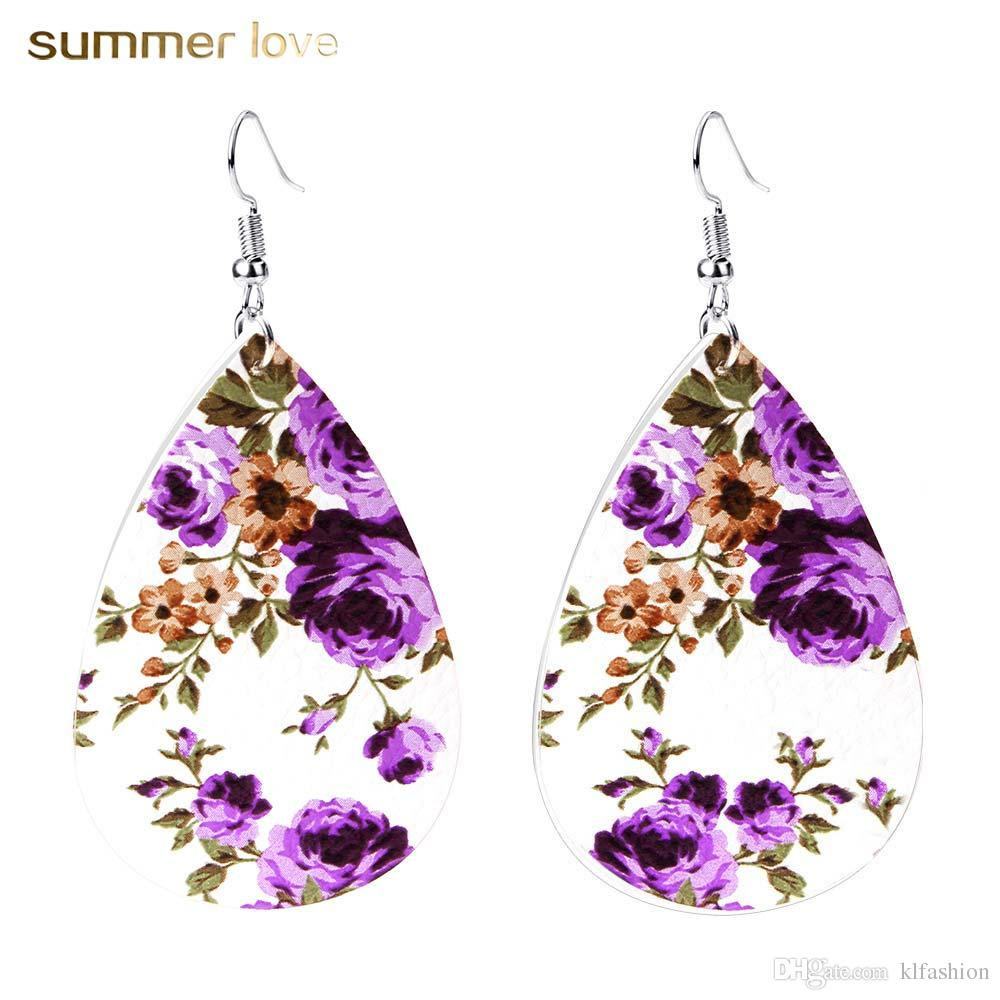New Arrival Genuine Leather Waterdrop Print Floral Hook Dangle Earing For Women Unique Design 6 Color Drop Fashion Statement Earrings