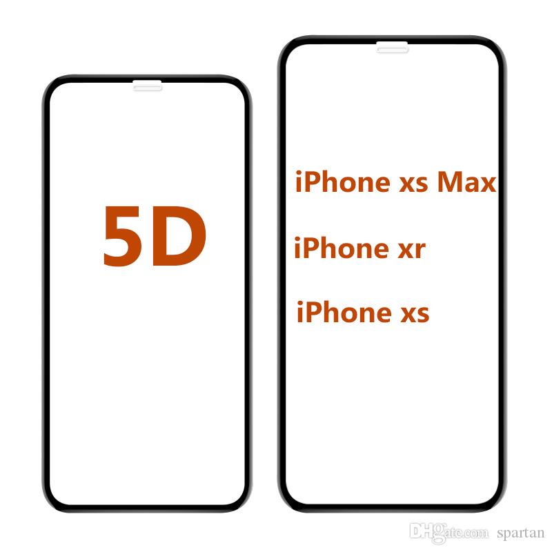 5D Curved Tempered Glass for iPhone xr 6.1 8 7 6 Plus Ultra-Smooth High Quality Full Glue Screen Protector Film for iphone X 8 7 6s