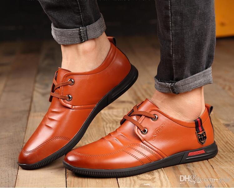 2019 Nuovo stile in pelle concisa uomo affari appuntito nero scarpa traspirante formale da sposa scarpe di base moda scarpe da uomo vestito S648
