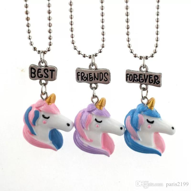 Hot sales Best Friends Forever Unicorn Necklace Unicorn Figure Pendants with Stainless Steel Chain Fashion Jewelr