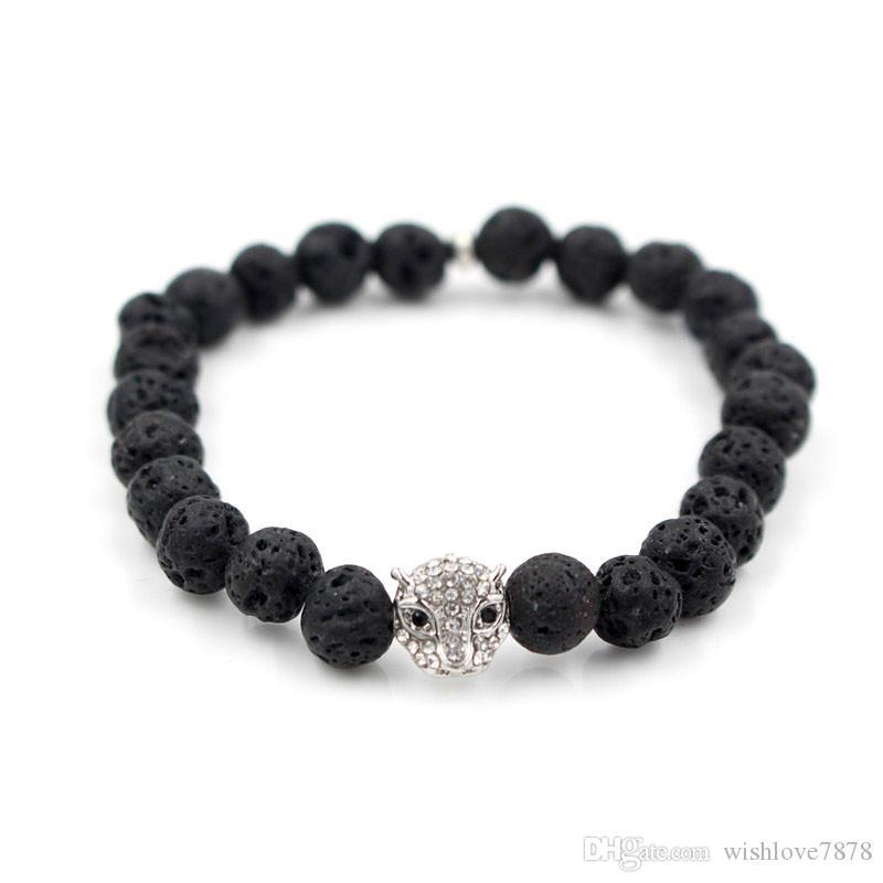 Moda Banhado A Prata Buddha Cabeça Leopardo Pulseira Pavimentar Preto CZ Lava Pedra Natural Bead Bracelet Para Homens Mulheres Pulseras Hombre