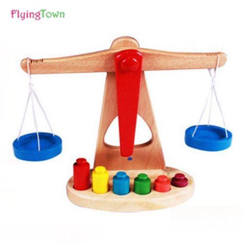 FlyingTown Montessori Lehrmittel Waagschale Baby Balance Spiel frühe Bildung Spielzeug Holzpuzzle Kinder