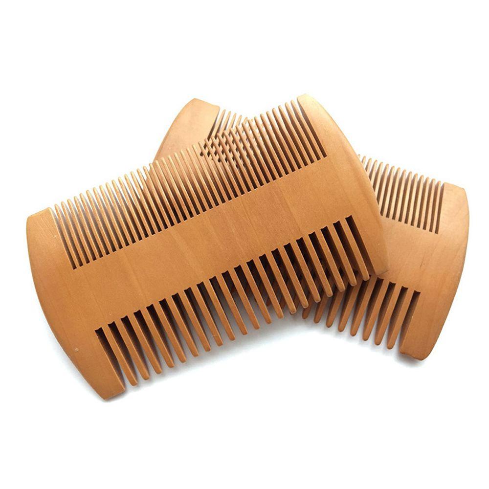 50pcs / lot Dual Action Pocket Bois Peigne Peach Bois Régl dents Soins des cheveux Styling Outil anti statique Beard Baume à l'huile Company