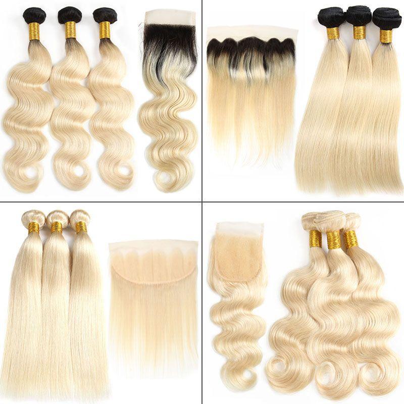 Glary Body Wave Straight 613 paquetes de color rubio con Frontal brasileña 1B 613 paquetes de cabello de la Virgen con cierre