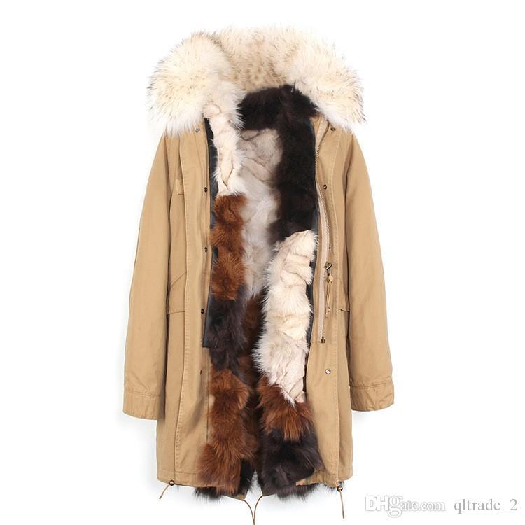 Moda Jazzevar Beige Raccoon Fur Trim Kobiety Futro Kurtka Lody Kolor Futro Fox Lining Khaki Long Parkas Zewnętrzne Płaszcze